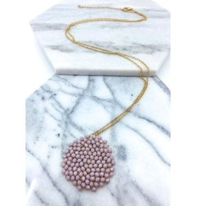 Mauve & Gold Long Glass Bead Cluster Necklace NEW